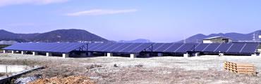 金田建設敷地内の太陽光システム